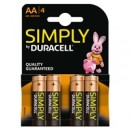 Duracell Simply Alkaline Pack of 4 AA Batteries