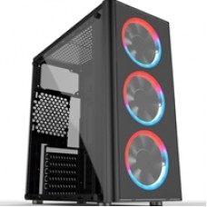 Cronus Metis Mid Tower 1 x USB 3.0 / 2 x USB 2.0 Tempered Glass Side Window Panel Black Case with RGB LED Fans & I/O Panel Control Button