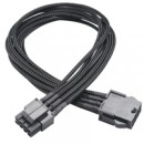 Akasa FLEXA P8 8-Pin ATX PSU (F) to 8-Pin ATX PSU (m) 0.40m Black Mesh Sleeved Retail Packaged Internal Extension Cable