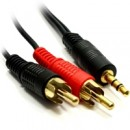 3.5mm (M) Stereo Jack to 2 x RCA Plug (M + M) 2m Black OEM Cable