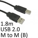 USB 2.0 A (M) to USB 2.0 B (M) 1.8m Black OEM Printer/Scanner Data Cable