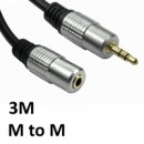 3.5mm (M) Stereo Plug to 3.5mm (F) Stereo Plug 3m Black with Gold Connectors OEM Cable