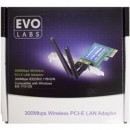 Evo Labs PCI-Express Full Height N300 WiFi Card with Detachable Antennas
